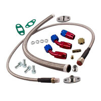 Turbo Oil FEED AND RETURN Line Kit T3 T4 Universal Braided Adapter T04 T60 T70