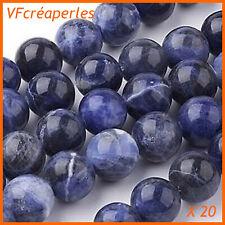 x 20 - Pierre Sodalite perles rondes polies de 6 mm. Grade AA