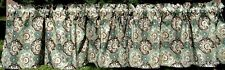 Gold Sparkle Paisley Print Teal Cream Brown Elegant Print Curtain Valance NEW