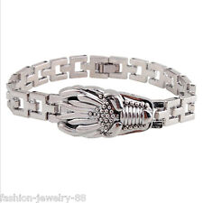 Stainless Steel Men Dragon Head Wristband Bracelet Watchband Clasp Cuff Bangle