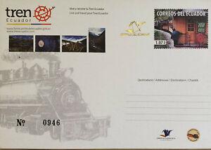 L) 2013 ECUADOR, ECUADOR RAILWAYS, TRAIN, TRANSPORT, POSTAL STATIONARY, CONVOY O