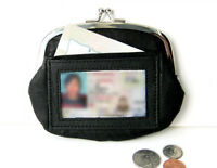 Black Genuine Leather Woman Coin Purse Clasp Open ID Card holder Wallet