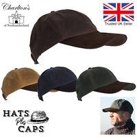 Waterproof Baseball Cap British Waxed Cotton Leather Peak  Rain Hat Water Repel