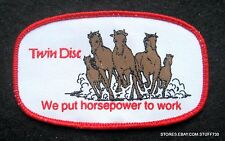 """TWIN DISC SEW ON PATCH WE PUT HORSEPOWER TO WORK UNIFORM HORSES 4"""" x 2 1/2"""""""