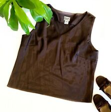DORBY Women's Brown Silky 14 Large Tank Top V Neck Sleeveless Shirt