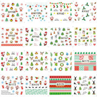 24 Sheet Christmas 3D Nail Art Stickers Snowflakes Snowman Nail Decals Fashion