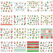 24 Sheet Christmas 3d Nail Art Stickers Snowflakes Cute Snowman Nail Decals DIY