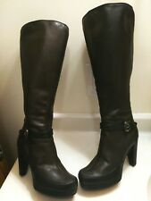 Fendi Dark Brown Leather Zip Up Plalform Knee High Boots Shoes SZ 37 US 6.5