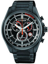 Citizen Eco-Drive Black Steel Chronograph Mens Watch. 100m WR. AT2136-87E