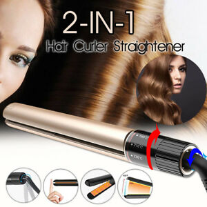 2 in 1Hair Straightener Curler Rotating Waver Tourmaline Ceramic Iron Salon A!