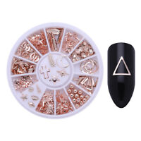 Rose Gold Nail Studs Starfish Geometry Leaf DIY 3D Nail Art Decoration in Wheel