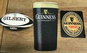 Guinness Rugby Ball (Mini) RARE  Guinness pint Mouse mat &  Guinness plaque.