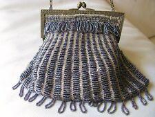 Antique Art Deco Gold T Tan Knit Periwinkle Blue Lavender Peacock Bead Purse