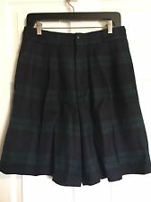 COLLECTIBLE GOLD Vintage Women's Green Plaid Wool Lined Shorts - Size 14. EUC