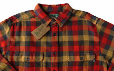 Men's WOOLRICH Red Khaki Brown Plaid Flannel Cotton Shirt Jacket Large L NWT NEW