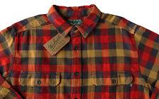 Men's WOOLRICH Red Khaki Brown Plaid Flannel Cotton Shirt Jacket Large L NWT NEW