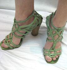 Sigerson Morrison Belle Size 9 or 40 Green Stud Strap Block Heeled Sandal