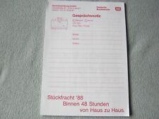 """Deutsche Bundesbahn, """"Vordruck Gesprächsnotiz 1988"""""""