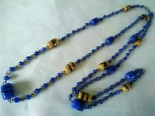 "long, End of Day Blue Splatter Glass Vintage Art Deco Flapper Bead Necklace 40"""