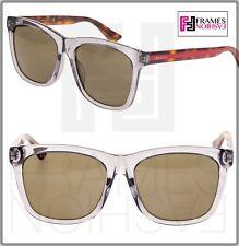 3c5c08a84bf GUCCI 0057 Classic Square Transparent Grey Havana Sunglasses GG0057 Vintage