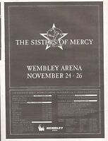 SISTERS OF MERCY 3 nights @ Wembley 1990 Poster size Press ADVERT 16x12 inch
