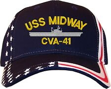 USS Midway CVA-41 Embroidered Stars & Stripes Baseball Cap Hat  Navy