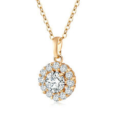White Topaz Women Wedding Charm 18K Yellow Gold Filled Pendant Chain Necklace