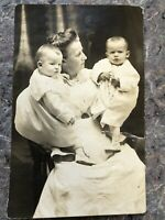 1904-18 AZO Real Photo Postcard of Twins With Woman - Nurse? - Au Pair? -Mother?