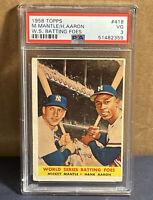 1958 Topps Mickey Mantle Hank Aaron 1957 World Series Batting Foes PSA 3 #418