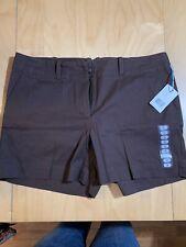 Liz Claiborne Womens Shorts Classic Chino Size 14 Dark Brown NWT