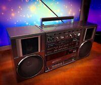 "HITACHI TRK-9100W  (1983) Vintage Stereo Cassette Boombox ""Ghetto Blaster"""