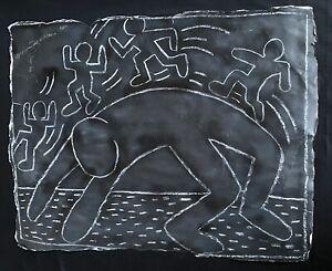 LARGE Keith Haring  Subway Drawing on Black paper  NYC Vintage 1980s RARE