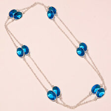 London Blue Topaz Creative Stone Fine Jewelry Necklace 36""