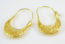 OttomanGems earrings 21ct gold plated filigree Turkish basket hoop Handmade