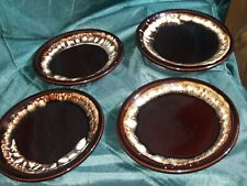 "Vintage Phaltzgraff Brown Drip Stoneware 6 3/4"" Plates Set of 4"