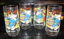 Peyo Smurf 1983 Glasses 3 Baker Smurf 1 Handy Smurf Wallace Berry Co. Libbey