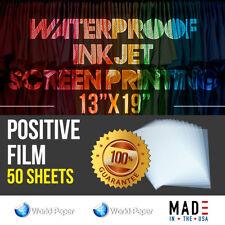 Waterproof Inkjet Transparency Film For Screen Printing 13x19 50 Sheets
