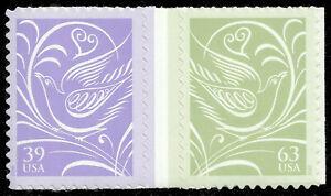 Scott 3999b, the 2006 Se-Tenant Wedding Doves Gutter Pair