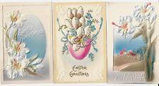 3 Vintage Easter Postcards:Embossed Flowers,eggs. Made in Germany. Exc