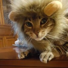 Cat Costume Cute Pet Cosplay Lion Mane Wig Cap Hat for Christmas Xmas Funny Dog