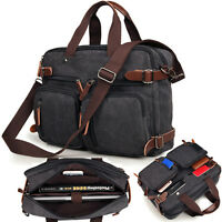 Black Men's Canvas Backpack Messenger Shoulder Bag Briefcase Laptop Handbag New