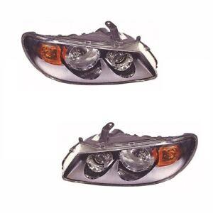 For Nissan Almera 2/2003-2006 Headlights Headlamps Black 1 Pair O/s & N/s