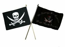 "12x18 12""x18"" Wholesale Combo Pirate Calico Jack & Beatings Morale Stick Flag"