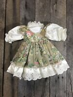Antique/ Vintage Sage Green And Floral Doll Dress, 10 Inches