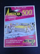 NASCAR 1965 1ST ROCKINGHAM NORTH CAROLINA SPEEDWAY AMERICAN 500 SIGNED PROGRAM