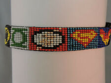 "DOG COLLAR UNISEX HANDMADE BEADED SUPER HERO W/SNAP BUCKLE D RING SMALL 12""-14"""