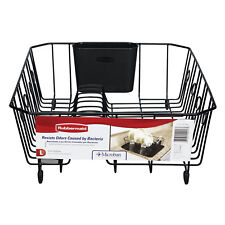 RUBBERMAID LARGE DISH DRAINER Antimicrobial Kitchen Plate Rack Black 13 DISH