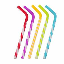Silicone Rainbow Drinking Straws (5-pack)- Safe for kids
