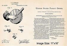 "Banjo Thimble Drawing 1889 Stewart 11""x16"" Patent Art Print Gifts Banjo Players"