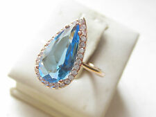 925 Sterling Silver Turkish Drop Faceted Aquamarine Ring Sz 5.5 Rose Gold Plt.